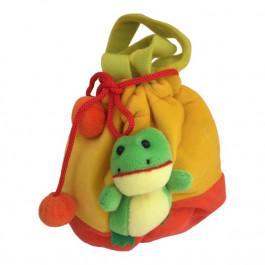Børne taske - Med snørre og 3D Frø - Gul