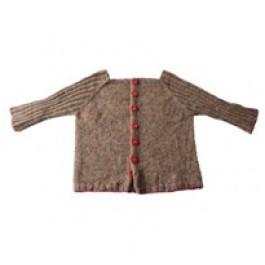 DIY - Lillestrik strikkekits - Babytrøje Carl med røde knapper - str. 0-6 måneder - str. 6-12 måneder.