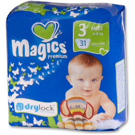 Magics - Engangsbleer - Baby bleer - Premium Midi 4-9 kg - 31 stk.