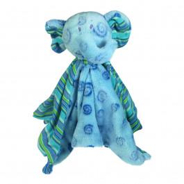 Nusseklud - Med rangle - Pastel lyseblå elefant