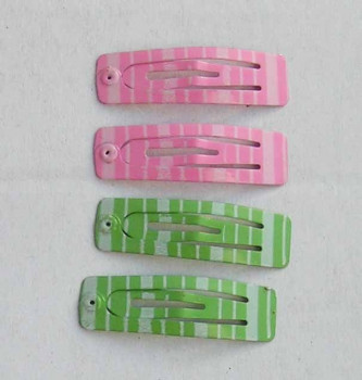 Sweethearts - Hårspænder - Lyserød & grøn med striber