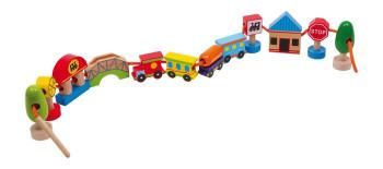 Motorisk legetøj - Træperle sæt - Tog