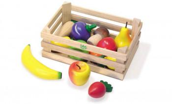 Vilac - Legemad i træ - Trækasse - Med frugt og grøntsagerm