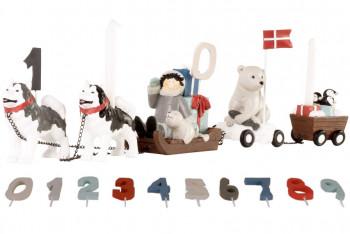 Kids by Friis - Fødselsdagstog m. 11 tal/ hundeslæde