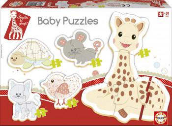 Sophie La Girafe - Puslespil -  4 Forskellige baby motiver