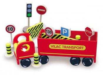 Vilac - Rød lastbil - Med 14 ass. vejskilte