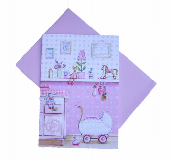 Lykønskningskort - Babykort - Baby old toys - Lyserød