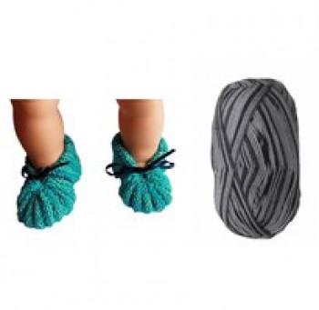 DIY - Skønne Babyfutter - Strikke kit i superwash uld - Grå nuancer - str. 0-3 mdr - 3-6 mdr.