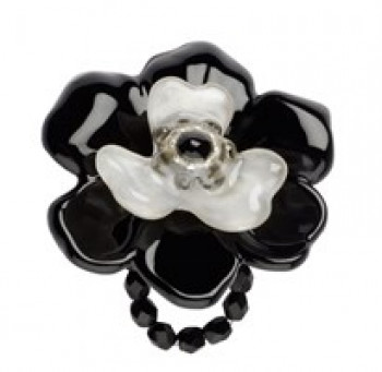 Lalo - Ring - Big black flower