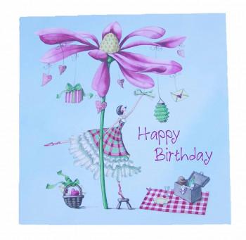 Lykønskningskort - Fødselsdagskort - Ballerina