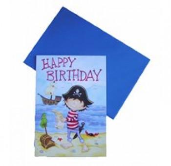 Lykønskningskort - Fødselsdagskort - Sej pirat på øde ø