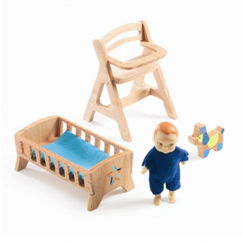 Djeco - Petit Home - Dukkehus møbler - Lolly's babyværelse
