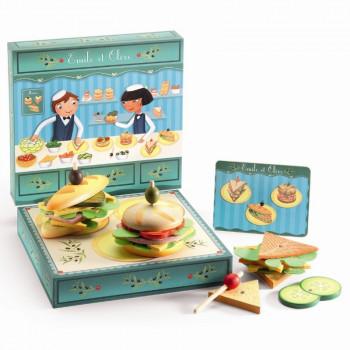 Djeco - Legemad i træ - Sandwichbar – Emile & Olive