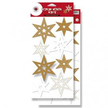 DIY - Stanseark - Stjerner i hvid og guld