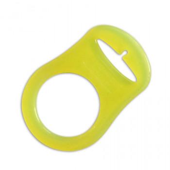 Mam adapter - Silikonering transparent gul til suttekæder