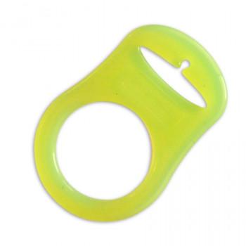 Mam adapter - Silikonering transparent lime grøn til suttekæder