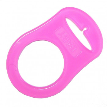 Mam adapter - Silikonering transparent pink til suttekæder
