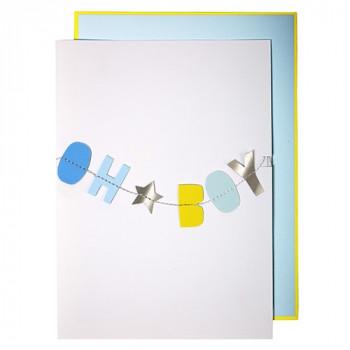 Meri Meri - Lykønskningskort med guirlande - Babykort - Oh Boy
