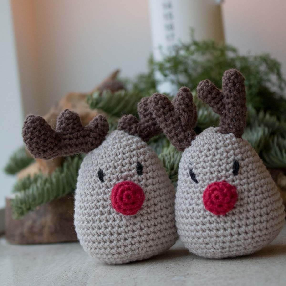 Krea Deluxe Hækle opskrift Hæklet julepynt Rudolf