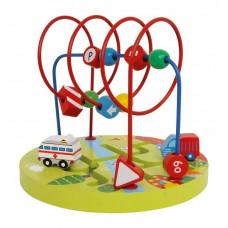 Aktivitets labyrint kuglebane - Motorik træ legetøj - Biler
