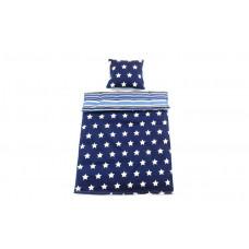 Smallstuff - Junior sengetøj - Mørkeblå med hvide stjerner