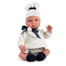 Asi - Baby dukke - Leo 46 cm - Hvid trøje og shorts