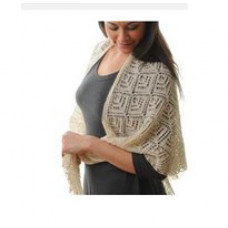 DIY - B. C. Garn - Smukt lace sjal i babyalpca - Mørk creme