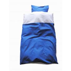 Baby sengetøj - Hvide stjerner - Blå