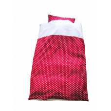 Junior sengetøj  - Hvide stjerner - Rød
