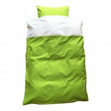 Junior sengetøj - Hvide stjerner - Grøn