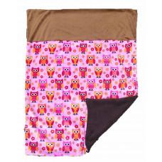 Babytæppe - Minky fleece tæppe - Pinkbrun Ugler