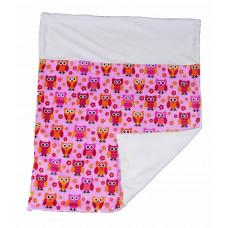 Babytæppe - Minky fleece tæppe - Pink/creme Ugler