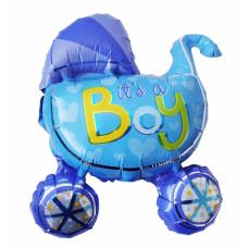It´s a boy ballon - Barnedåbs & Babyshower ballon - Barnevogn - Mørkeblå & Lyseblå