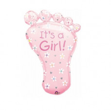 It´s a girl ballon - Barnedåbs & Babyshower ballon - Fod - Lyserød