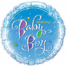 Welcome Baby Boy ballon - Barnedåbs & Babyshower ballon - Rund - Blå