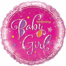 Welcome Baby Girl ballon - Barnedåbs & Babyshower ballon - Rund - Pink