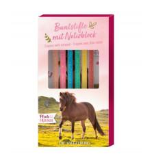 Spiegelburg - Notesblok med glimmerfarveblyanter - Hest