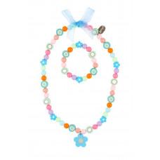 Souza - Børnesmykker - Halskæde og armbånd - Blomster og perler i pastelfarver - Emilie