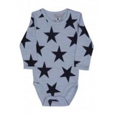 Hust & Claire - Body uld - Økotex - Blå med stjerner - Str. 62