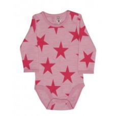 Hust & Claire - Body uld - Økotex - Lyserød med stjerner - Str. 92