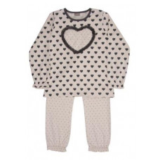 Hust & Claire - Pyjamas - Lyserød med hjerte - Str. 110