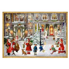 Coppenrath - Gavemærke julekalender med glimmer - Julehygge foran huset