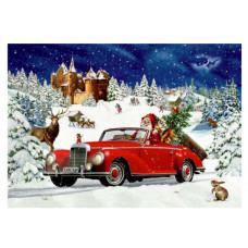 Coppenrath - Gavemærke julekalender med glimmer - Julemanden i sin røde bil