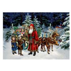 Coppenrath - Gavemærke julekalender med glimmer - Julemanden i skoven