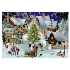 Coppenrath - Gavemærke julekalender med glimmer - Juletræ på torvet