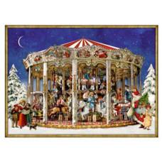 Coppenrath - Gavemærke julekalender med glimmer - Julekarusellen