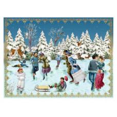 Coppenrath - Julekort julekalender med glimmer - Skøjtesøen
