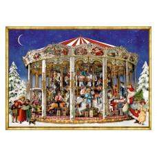 Coppenrath - Julekort julekalender med glimmer - Julekarrusel