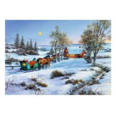 Coppenrath - Julekort julekalender med glimmer - Kanetur i sneen