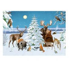 Coppenrath - Julekort julekalender med glimmer - Dyr i sneen